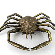Interesting Vintage Brass Inkwell In The Form Of A Crab