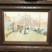 Dated 1903 Antique Water Color Harbor Scene by F. Rousse
