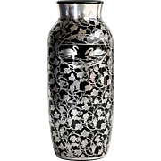 Rare Vintage Silver Overlay Vase By DePasse Pearsall