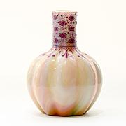 Circa  1890  Austrian  Loetz  Marmoriertes  Rainbow  Enameled  Vase