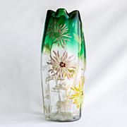 Circa 1905 Moser Floral Enameled Vase