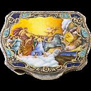 Circa 1900 Art Nouveau Scenic Enameled Silver Compact