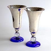 Antique Circa 1900 Pairpoint Cobalt & Silver Vases