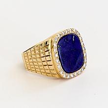Vintage Gent's 14K Lapis & Diamond Ring
