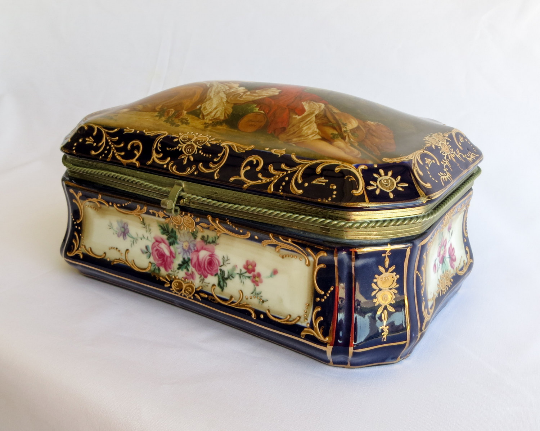 Vintage Scenic & Floral French Style Porcelain Box