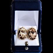 Vintage 14K Porcelain Lady's Owl Earrings