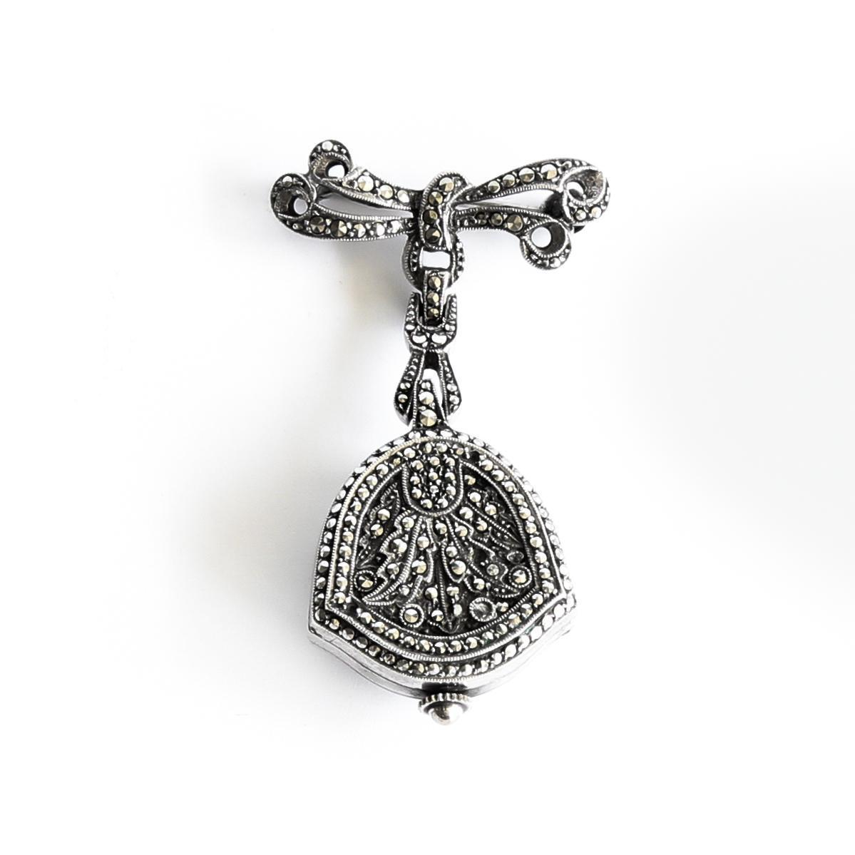 Lady's Bucherer Vintage 800 Silver Marquesite Lapel Watch