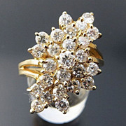 Lady's Vintage 14K  2.40 Ct. Diamond Cluster Ring