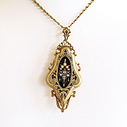 Antique Victorian 18K Enamel, Seed Pearl & Rose Cut Diamond Locket & Chain