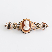 Antique Circa 1870 Lady's 14K Rose Gold Hard Stone Cameo Brooch