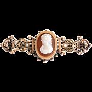 Antique Circa 1870 Lady's 14K Rose Gold Hard Stone Cameo Brooch