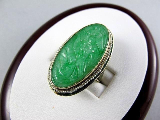 Rare Vintage 14K Gold Art Deco Carved Enameled Jade Ring With Seed Pearls