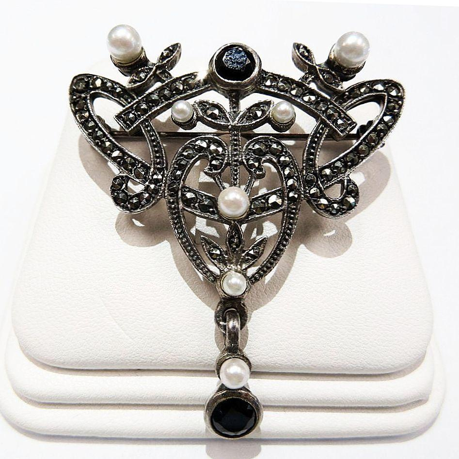 Antique  Edwardian  Sterling  Pearl  &  Marquesite  Brooch