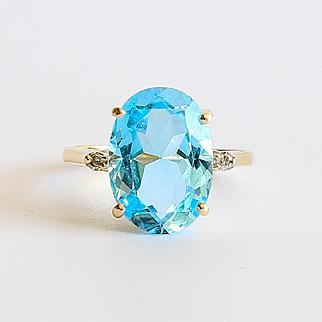 Lady's Vintage 14K Topaz & Diamond Ring