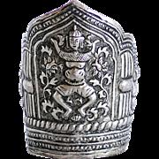 Antique Indonesian Figural Silver Cuff Bracelet