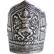 Antique Indonesian Figural Silver Cuff Bracelet