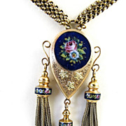 Magnificent Circa 1900 Antique Enameled 14K Necklace