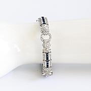 Spectacular Vintage Lady's Red Carpet 18K Diamond & Sapphire Bracelet