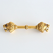 Antique Victorian 15K Gold Lion Brooch With Ruby Eyes