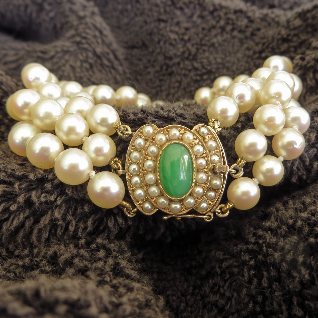 Lady's Vintage 14K Pearl & Jade Bracelet