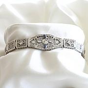 Circa 1910 Lady's 14K Sapphire & Diamond Filigree Bracelet