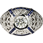 Magnificent Lady's 14K Custom Diamond & Sapphire Ring