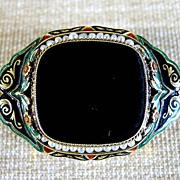 Magnificent Art Deco 14K Onyx, Seed Pearl, & Enameled Brooch