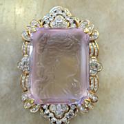 "Magnificent 18K 5 Ct. Diamond Carved Kunzite Brooch & 25"" 14K Chain"