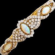 Fabulous 18K Australian Opal & Diamond Bracelet
