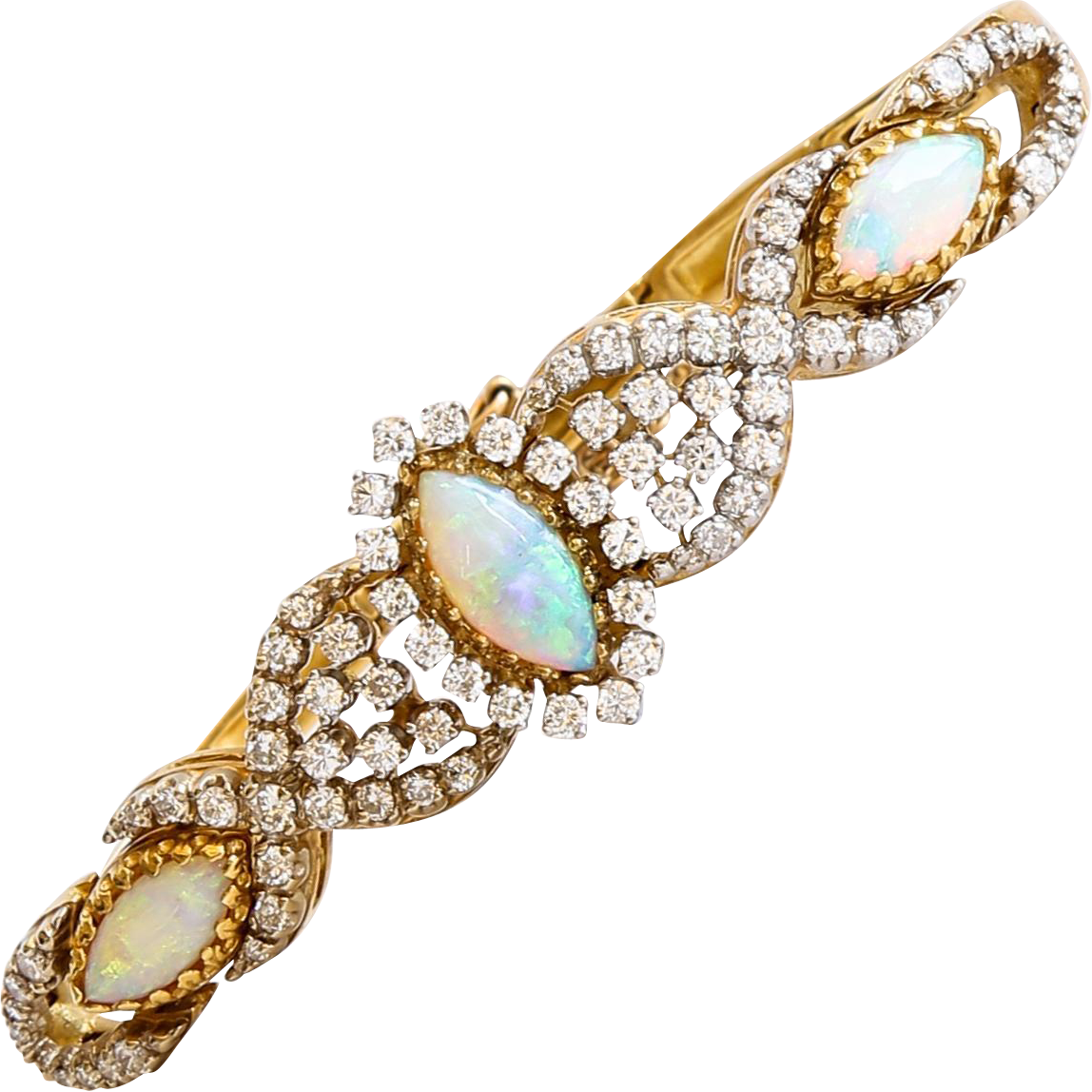 Fabulous 18k Australian Opal Amp Diamond Bracelet From The