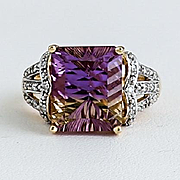 Lady's Vintage 10K Gold Ametrine & Diamond Ring