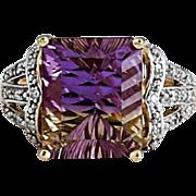 Lady's Vintage 10K Gold Ametrine & Diamond Ring