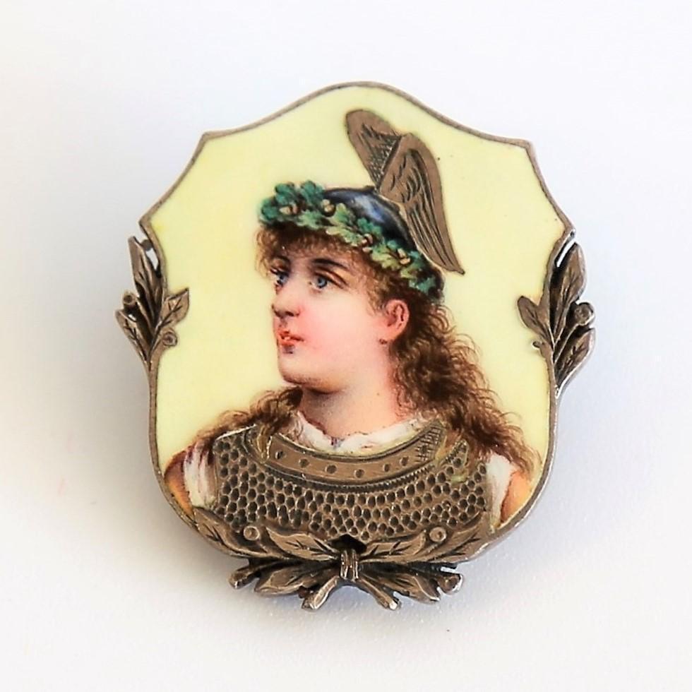 Circa 1860 Antique Enameled Goddess Nike Portrait Pin