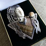 Signed Zealandia Outstanding Sterling & Fossilized Bone Art Deco Pendant Brooch