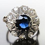Lady's Edwardian 14K & Silver Diamond & Sapphire Ring