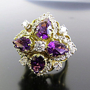 Magnificent Vintage Circa 1940's Lady's Amethyst & Diamond Ring