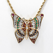 Magnificent Lady's Vintage Gold, Diamond, Emerald, Sapphire & Ruby Butterfly Necklace