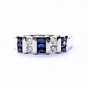 Lady's Vintage 14K White Gold Sapphire & Diamond Ring