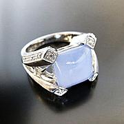 Lady's 14K Art Deco Chalcedony & Diamond Ring