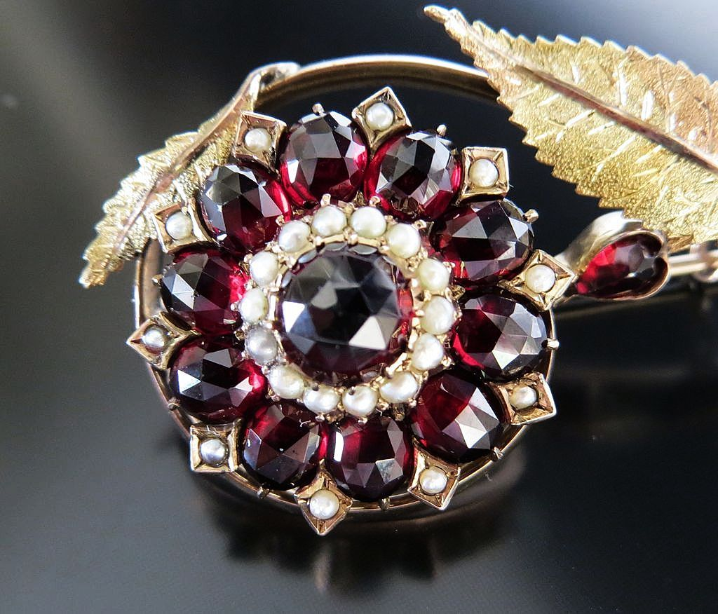 Circa 1890 9K Antique English Garnet & Pearl Flower Brooch