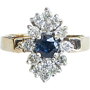 Lady's Vintage 14K Sapphire & Diamond Ring