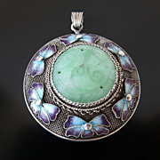 Lady's Antique Chinese Jade &  Enameled Pendant