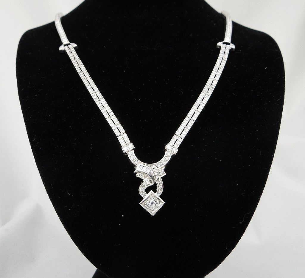 Vintage Platinum 2.92 Carat Diamond Necklace
