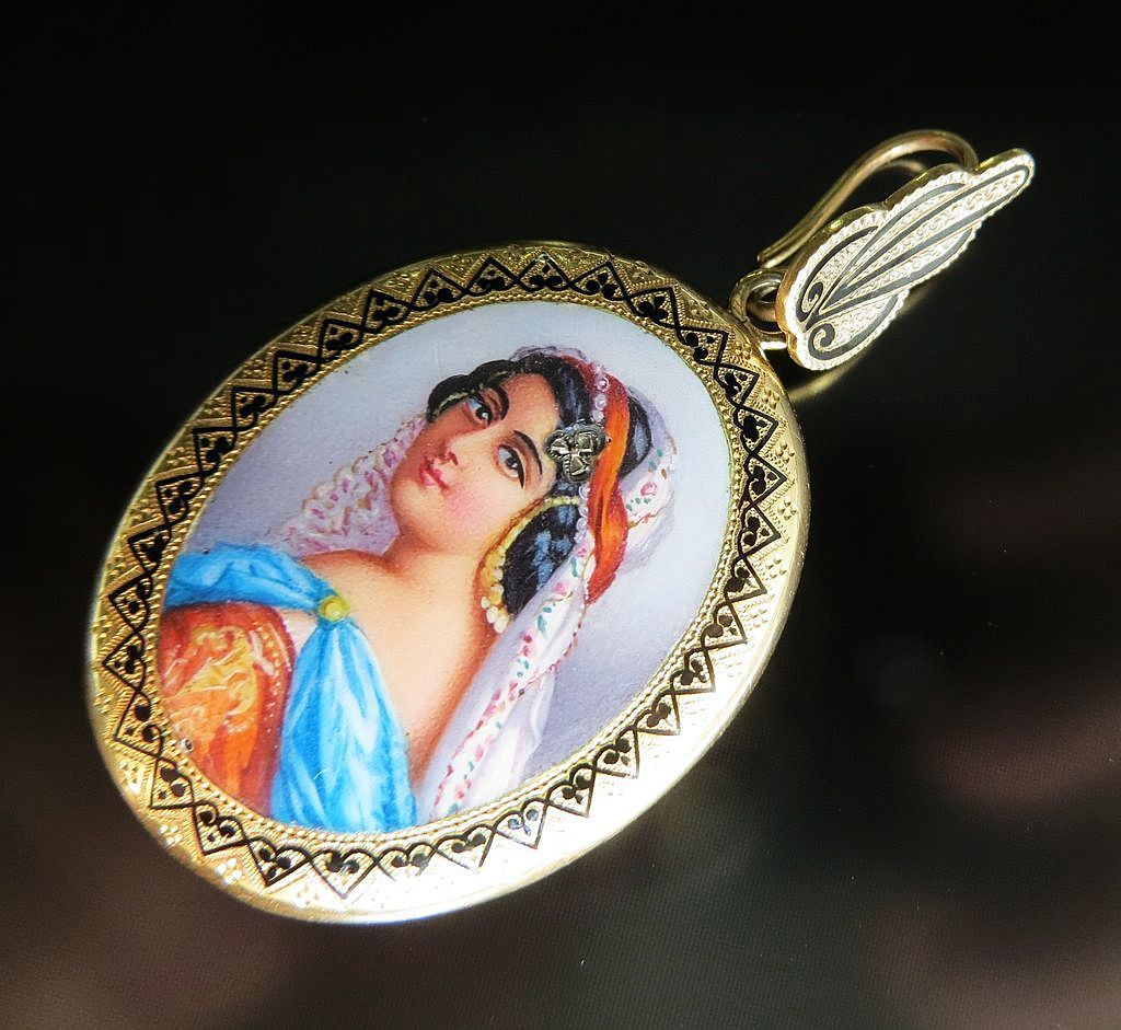 Antique Circa 1870's 18K Enameled Harem Girl Locket