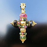 Vintage 18K Tourmaline Cross