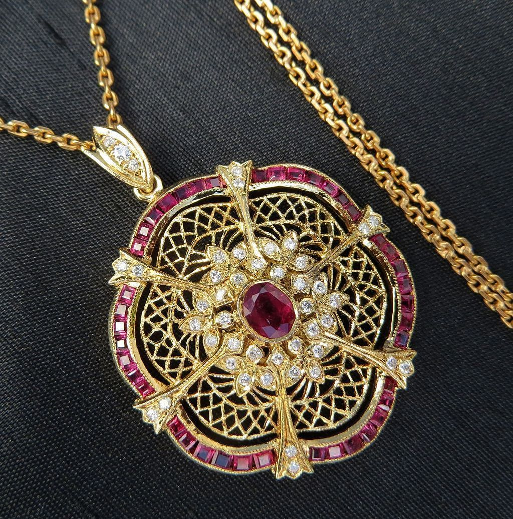 "Lady's Beautiful 18K Diamond & Ruby Pendant With 24"" 14K Chain"