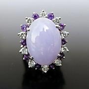 Lady's Vintage 14K Lavender Jade, Diamond & Amethyst Ring