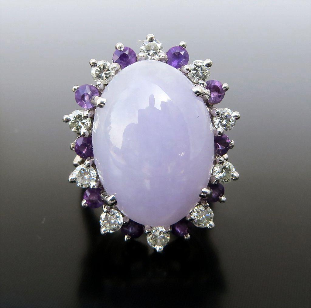 Lady S Vintage 14k Lavender Jade Diamond Amp Amethyst Ring