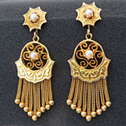 Lady's Victorian 14K Tassel & Pearl Earrings