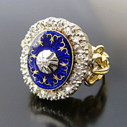 Lady's Antique 18K Edwardian Blue Enamel & Diamond Ring